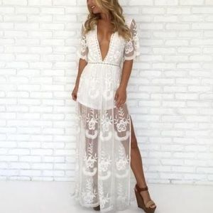 HP Maxi Romper Plunging V Neck Sheer Lace Overlay